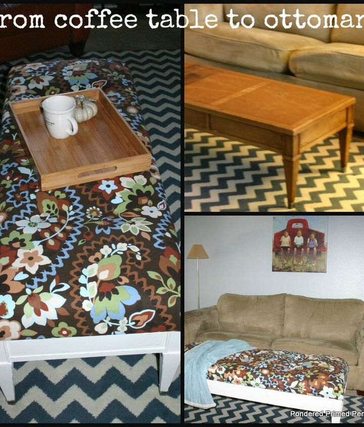 From ugly old coffee table to custom ottoman.
