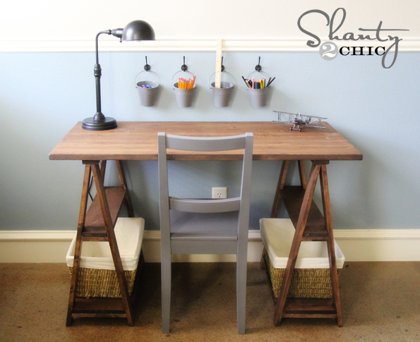 Diy Sawhorse Desk For 50 Painted Furniture Woodworking Projects