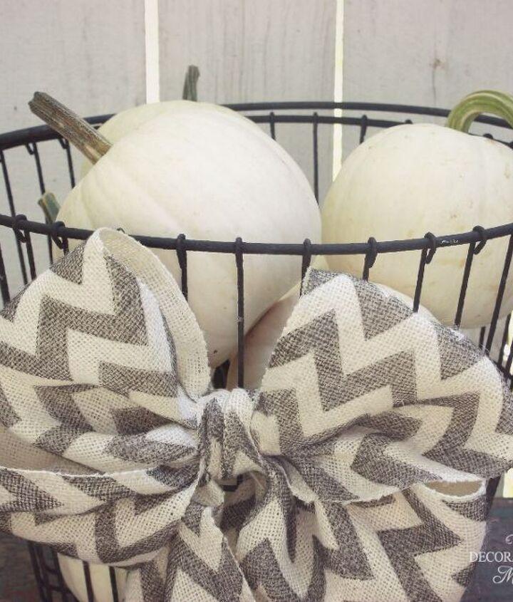 oyster basket white pumpkins and a chevron burlap bow, seasonal holiday decor