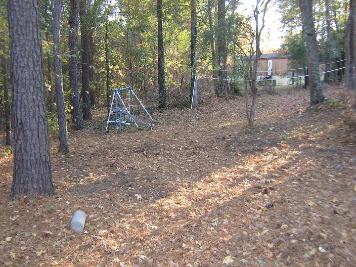 wooded slope needs attention, landscape, My grandchildren won t dare come back here because directly behid the swingset is where the forest begins Also this is where the road is that we cut