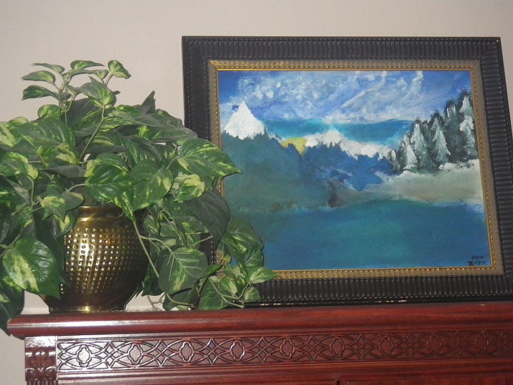 """Son painted this when he was 12.  First art I had  framed.  Remember Bob Ross on PBS, where he got his inspiration from.  """"We will just add a happy little tree here"""", per Bob Ross."""