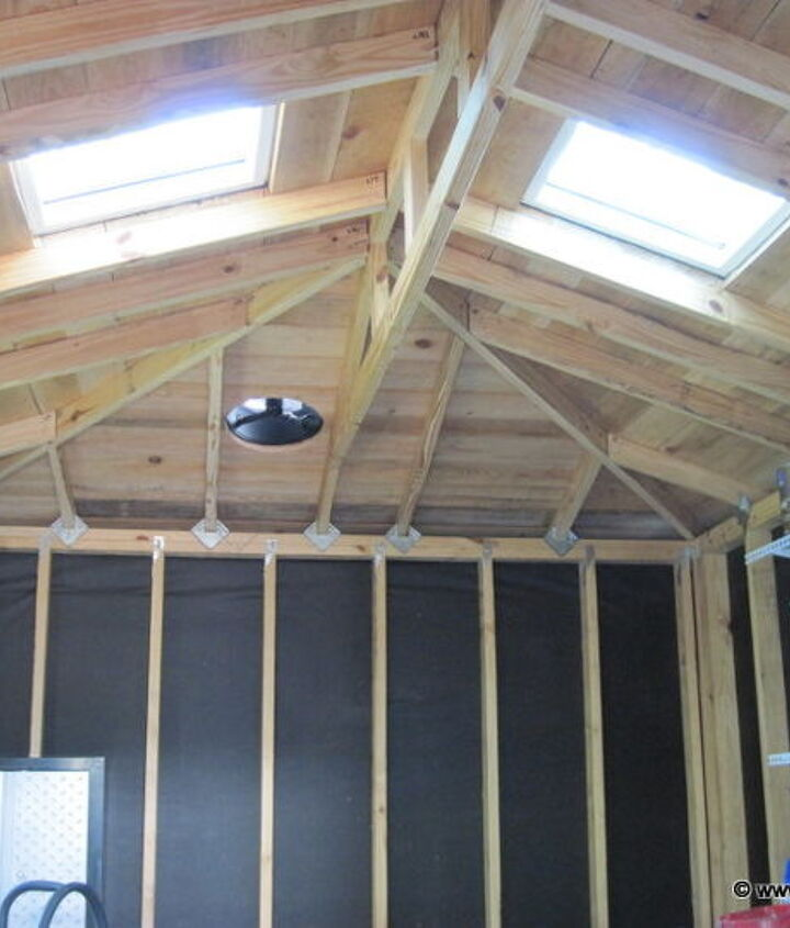 The shed has two skylights and a solar powered exhaust fan