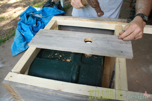 diy cowboy cooler, diy, how to, patio, porches, woodworking projects, Attaching the facing and the pre drilled spigot piece