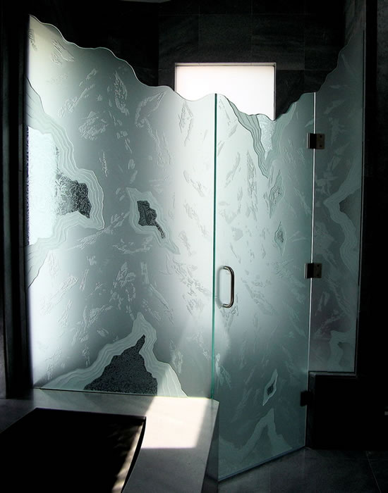 glass etching for a unique interior design, home decor, wall decor, windows, Etched Glass Shower Screen