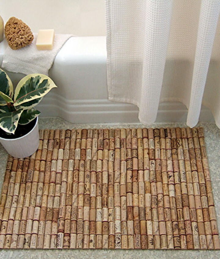 diy wine cork bath mat, crafts