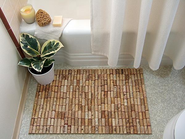 diy wine cork bath mat, crafts