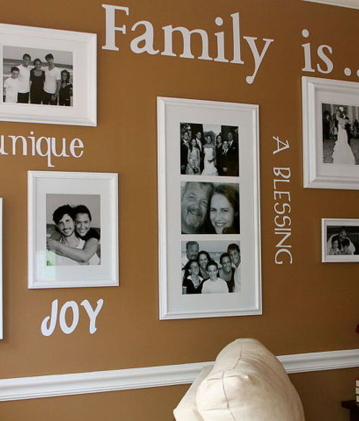 Finished Product: Family Gallery Wall with vinyl words cut with Cricut diecutting machine.