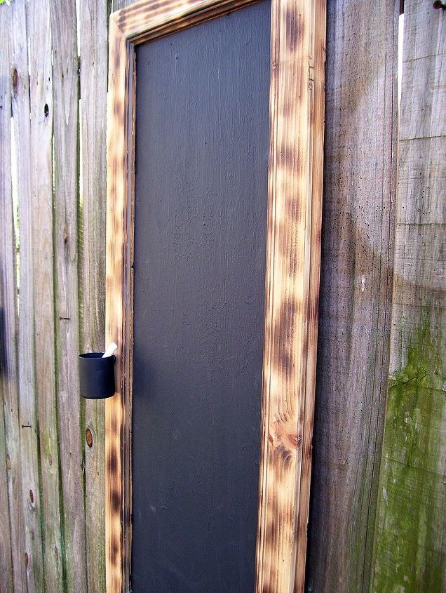 one found cabinet door one great chalkboard, chalkboard paint, crafts, woodworking projects, Just Hanging Around