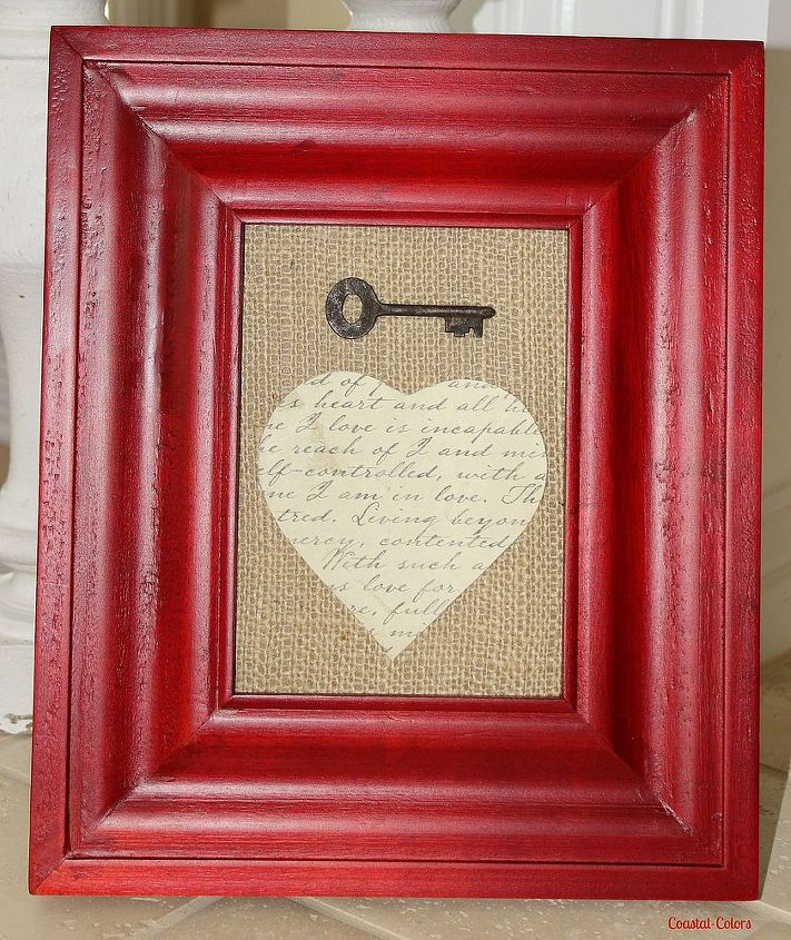 Simply spray the cardboard, that came with the frame, with spray adhesive and put the burlap on top of it. Cut a heart from the document paper, glue on top of the burlap and glue the key above the heart.