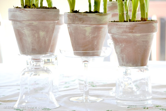 Placed on glass vases and candlesticks adds height and interest.