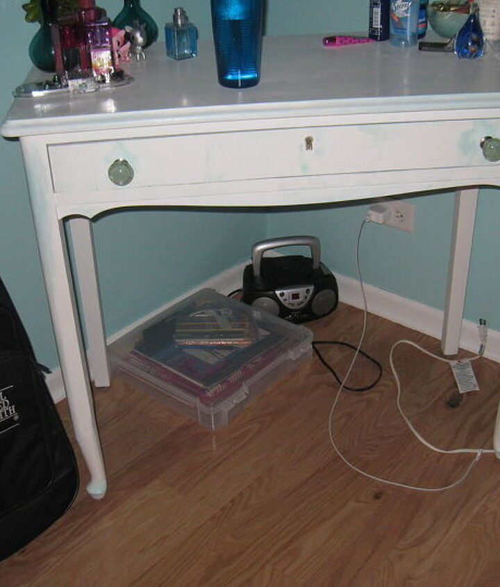 Vanity....finished the same way as the desk. Just waiting for the glass top and then the tri-fold mirror will be added.