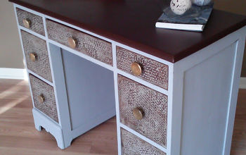 Salvaged wood desk transformed with chalk paint, bubble wrap and faux leather