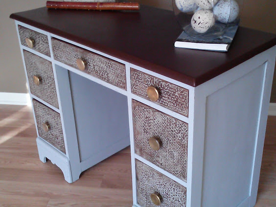 salvaged wood desk transformed with chalk paint bubble wrap and faux leather, chalk paint, painted furniture