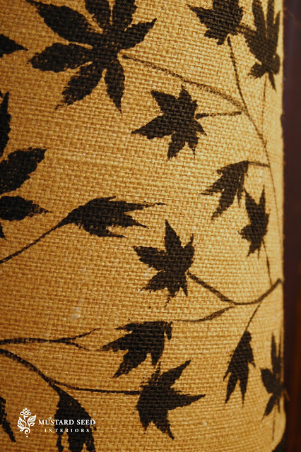 Japanese Maples Leaves stenciled Lamp Shade