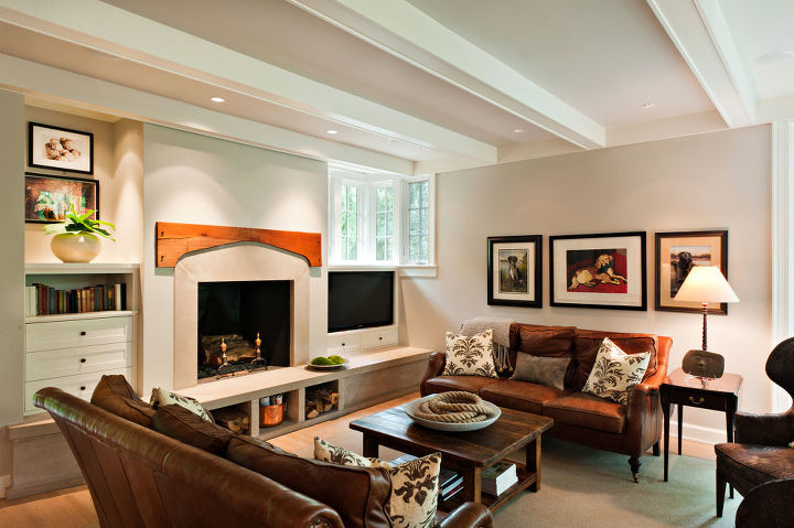 The new family room is the perfect place to get cozy by a fire.