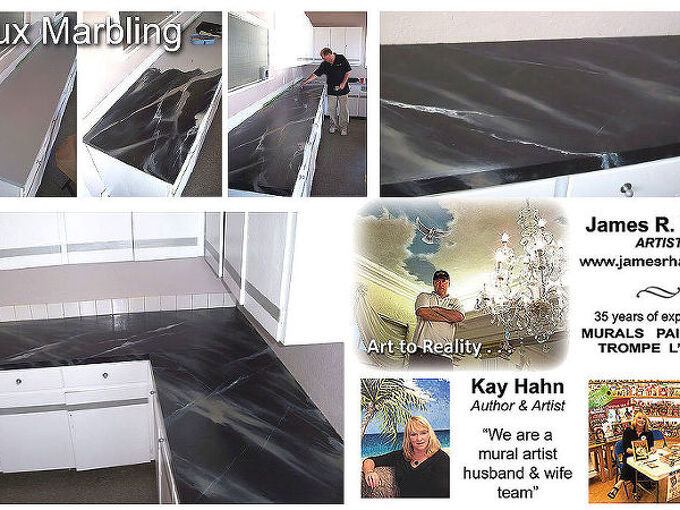 faux finishing an old kitchen counter top, countertops, painting, faux marble example over hideous old kitchen counter tops Hahn FL