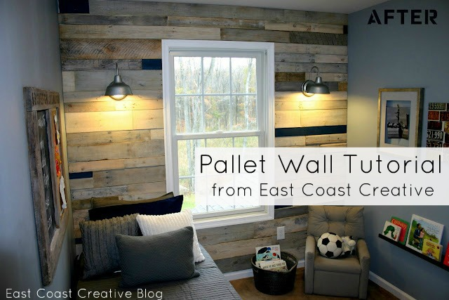 Pallet Wall Tutorial http://www.eastcoastcreativeblog.com/2011/10/pallet-possibilities-pallet-wall.html