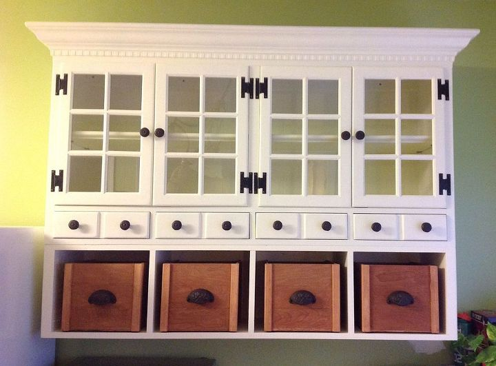 refurbished hutch, painted furniture, Here s the finished product I just love it and LOVE the fact that we did it