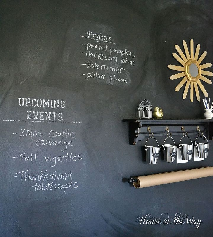 A chalkboard wall is a great addition to a craft room!