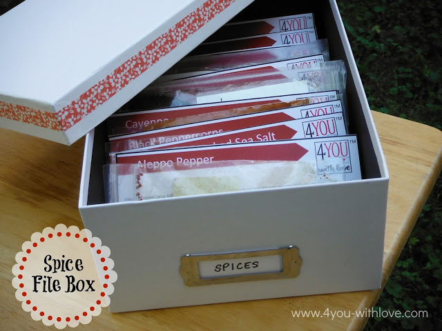 Find spices quickly and easily by making a spice file box from a photo storage memory box