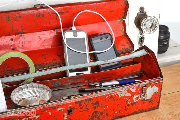 140 ways to organize your bad junk inside good junk, home decor, living room ideas, organizing, repurposing upcycling, storage ideas, An old toolbox works fabulous as a smart phon