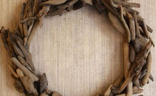 diy restoration hardware driftwood wreath tutorial, crafts, wreaths, The finished product looks great against the grass cloth wallpaper in our back entryway