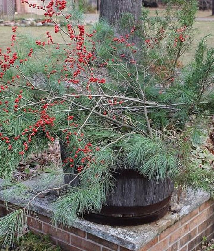 A wooden whiskey barrel filled with greens and holly greet our guests at the end of the driveway and send a bit of holiday cheer to all who drive by.