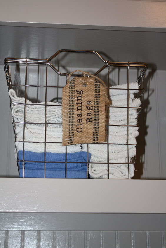 Baskets for organizing cleaning supplies..