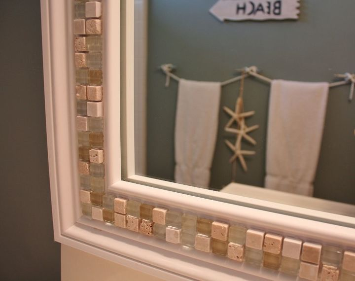 how to decorate a mirror with tile, crafts, Decorate a Mirror with Tile