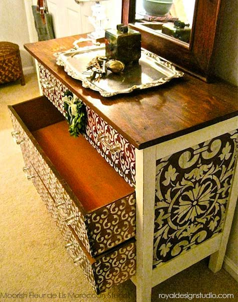 The finished dresser is raised to a new level with addition of beautiful stenciled patterns! http://www.royaldesignstudio.com/blogs/how-to-stencil/7499452-transform-a-chest-with-chalk-paint-furniture-stencils
