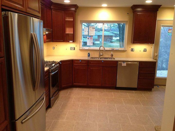 Almost complete kitchen. Still waiting for tile backsplash, knobs/ pulls, and undercabinet trim.