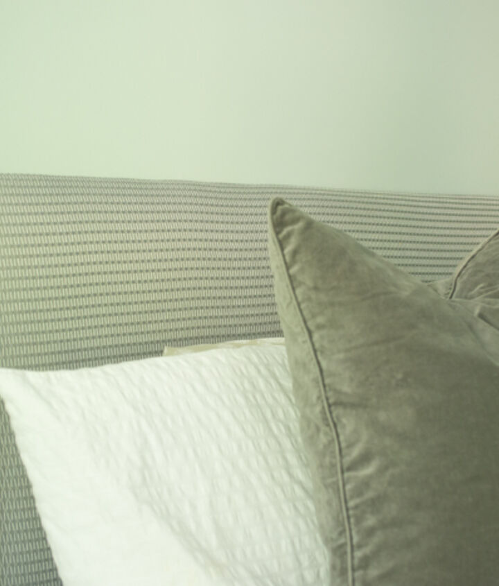 diy headboard for under 30, bedroom ideas, diy, how to, painted furniture, repurposing upcycling, Closeup of the fabric