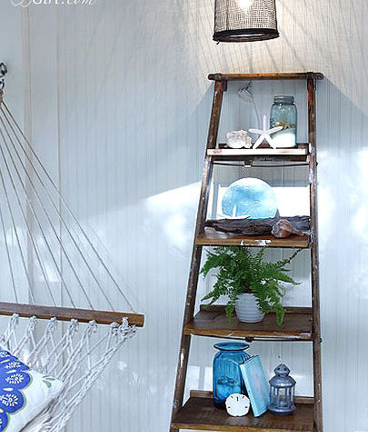 rickety old ladder turned into display shelving