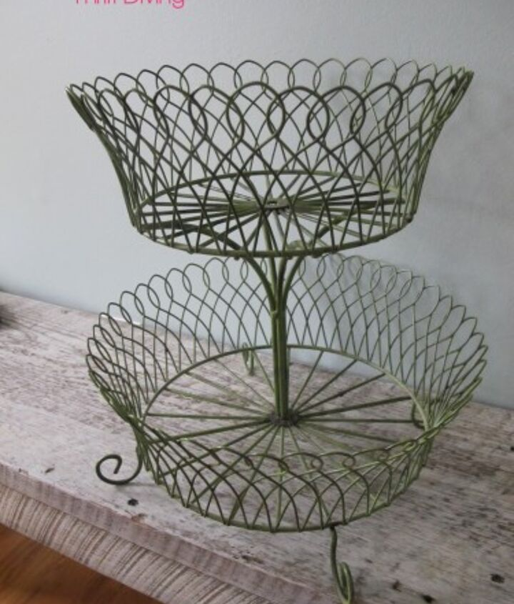 BEFORE: This cute Crate and Barrel fruit basket that I've owned for 10 years broke in half, and I immediately knew I wanted to upcycle the top tier into a DIY pendant lamp!