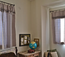 grain sack inspired curtains from drop cloths best no sew, crafts, home decor, reupholster, window treatments, Hanging in the kids guest room
