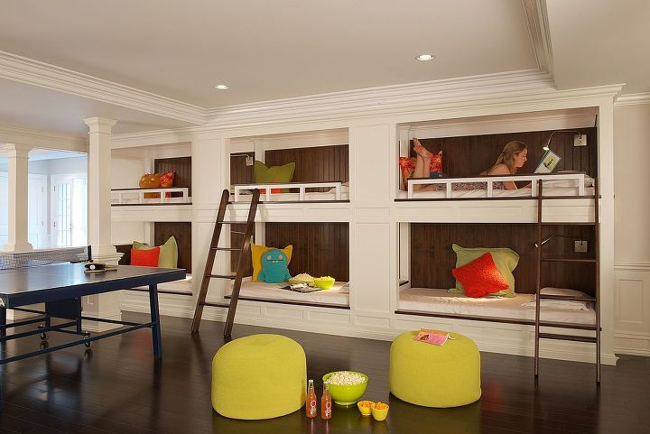 Custom bunkbeds for slumber parties! Renovation by Titus Built, LLC.