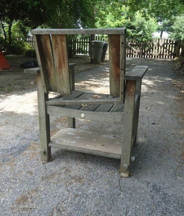 worn teak patio chair