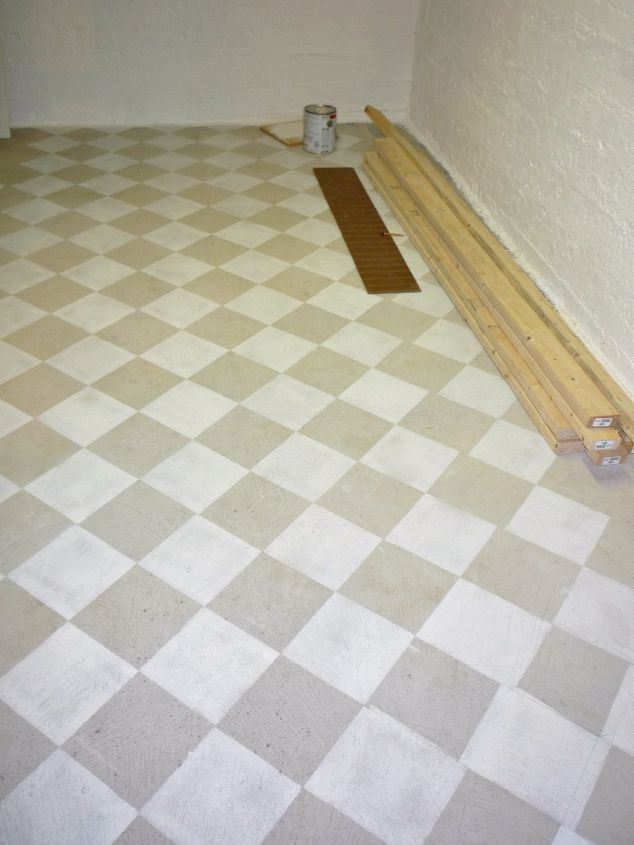 checkerboard painted concrete basement floor in new craft room i m building, basement ideas, concrete masonry, painting, Painted concrete floor