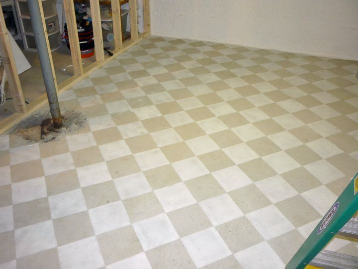 painted basement floor. checkerboard painted concrete basement floor in new craft room i m  building ideas Checkerboard I