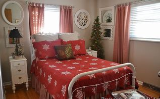 holiday tour of our guest bedroom, bedroom ideas, christmas decorations, painted furniture, seasonal holiday decor, We ve had this antique iron bed for 20 years It recently got a fresh coat of white spray paint We added a new quilt and shams for the holiday
