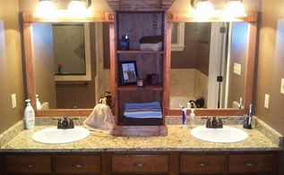 i used this idea and revamped my large bathroom mirror this weekend here are my, bathroom ideas, woodworking projects, First coat of stain