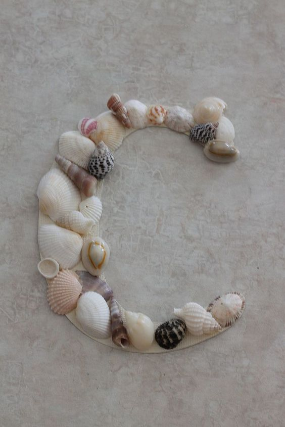 I arranged the shells and hot glued them to the stock paper C.