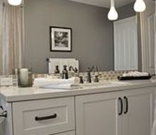 family bathroom renovation, bathroom ideas, home decor, Hanging pendant lighting and a moulding header above the mirror