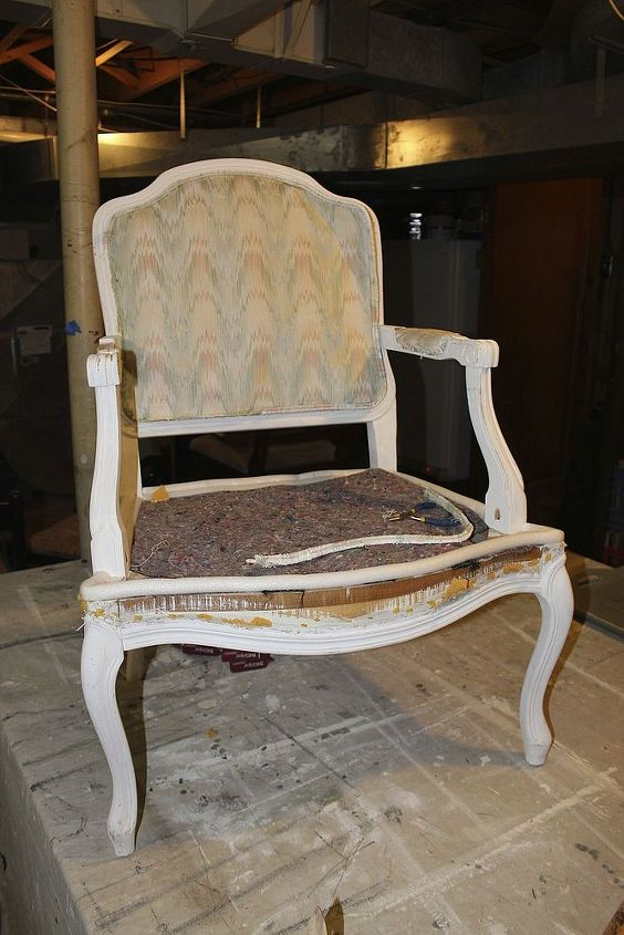 My friend sold me this chair for $10. It needed reupholstering and painting.