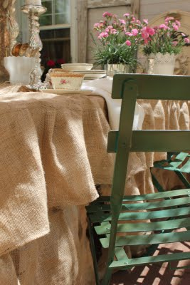ruffled burlap tablecloth, crafts, patio