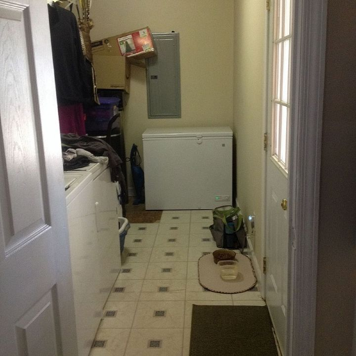 q how to organize decorate a very long and narrow laundry room, home decor, laundry rooms, organizing, View into the laundry room from my kitchen