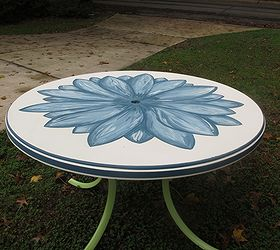 Hand Painted Patio Table Salvaged From The Dumpster Using Annie Sloan  Aubusson Blue, Chalk Paint