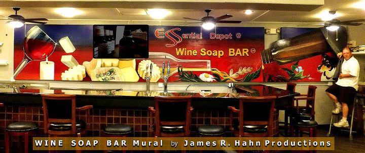 new mural, home decor, painting, Hahn mural for Wine Soap Bar in Sebring FL