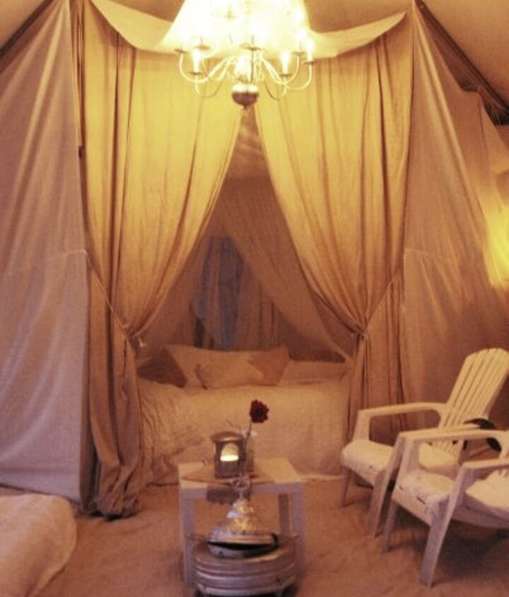 the working chandelier! http://homewardfounddecor.blogspot.com/2013/06/glamping-with-style.html