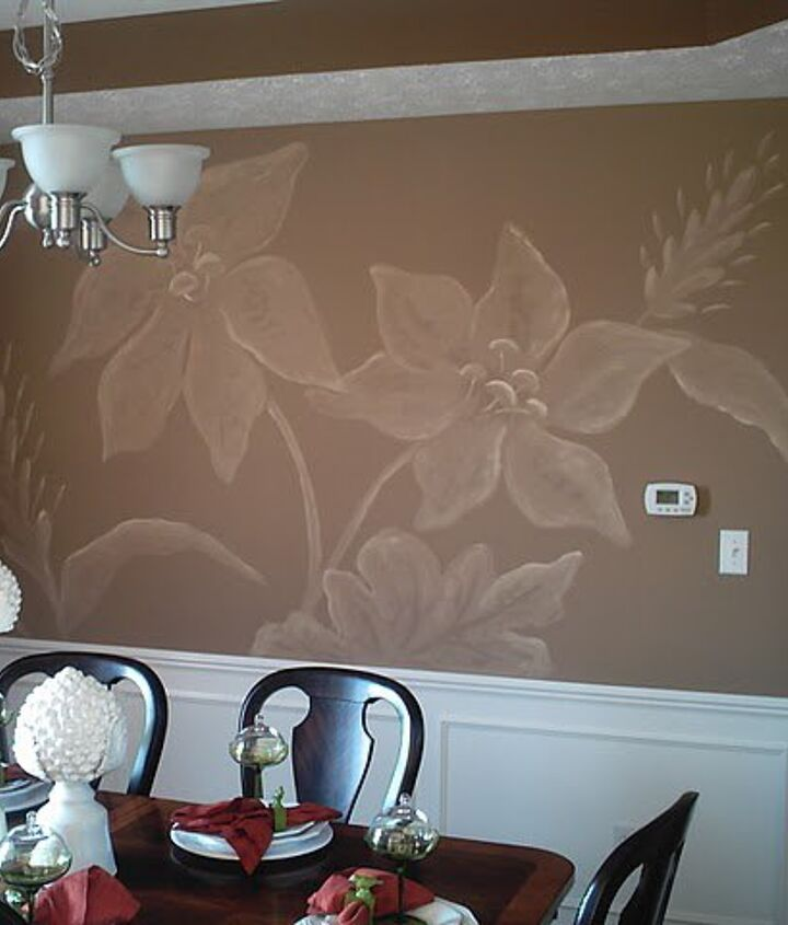 Overscaled damask pattern I painted in a dining room in Indianapolis for Beazer Homes.